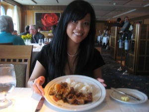 Filipino food on a Transatlantic cruise thanks to the awesome staff