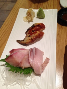 Yellowtail sashimi and eel nigiri