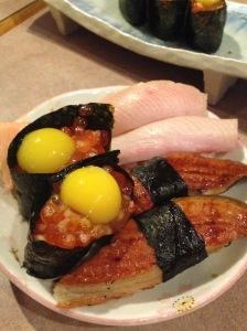 Our favourite sushi, ikura with quail's egg, hamachi and unagi